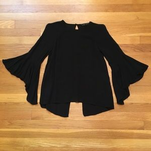 Zara Woman Crepe Black Blouse With Bell Sleeve